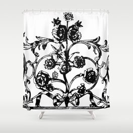 Antique Iron Gate with Flowers Shower Curtain