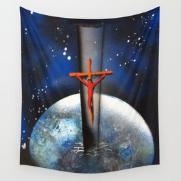 Saving the World Cross Spray Paint Wall Tapestry