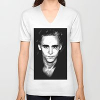 tom hiddleston V-neck T-shirts featuring Loki (Tom Hiddleston) by Olive in Pinkland