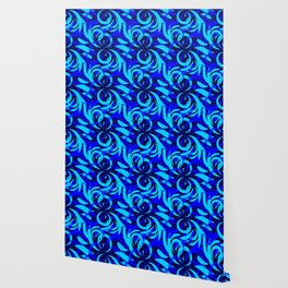 Repeating pattern of blue and azure petals of cornflowers and daisies. Wallpaper