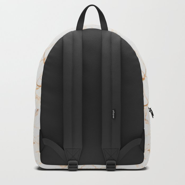 Cream and Gold Marble Cracks Backpack
