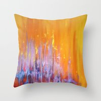 talking heads Throw Pillows featuring The Bar is Called Heaven/Talking Heads by Jeannette Stutzman