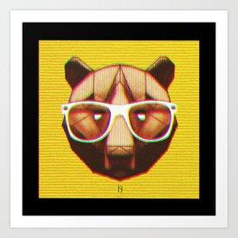 3D GEEKY GRIZZLY BEAR Art Print