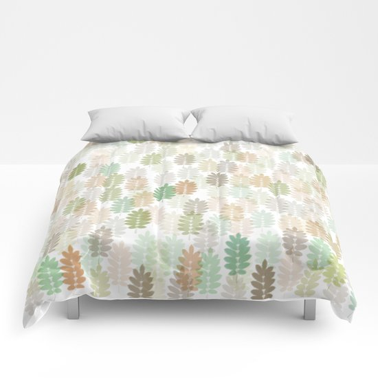 Soft Delicate Colored Leaf Abstract Comforters