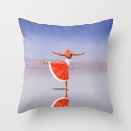Ballerina Dancing On The Beach Throw Pillow