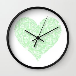 Floral Heart Design in Green Wall Clock