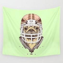 American Pug Football Yellow Wall Tapestry