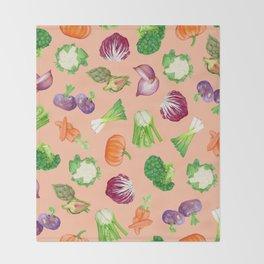 Peach pink veggies illustration pattern | Vegetables pattern Throw Blanket