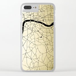 London Gold on Black Street Map Clear iPhone Case