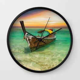 Longboat Sunset Thailand Wall Clock