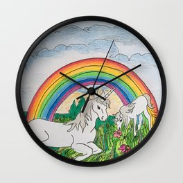 Unicorns, mother and child Wall Clock