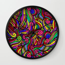 Print, seamless pattern of bright colored curls, frizz. Optical illusion. Wall Clock