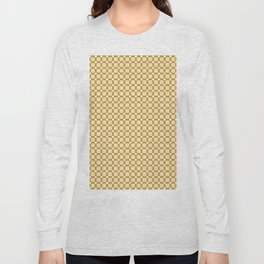 Ivory white brown geometrical abstract squares pattern Long Sleeve T-shirt