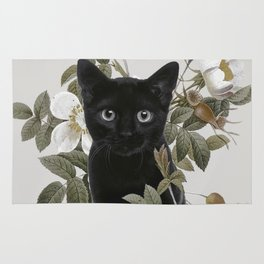 Cat With Flowers Rug