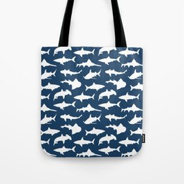 Sharks on Regal Blue Tote Bag