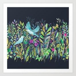 Little Garden Birds in Watercolor Art Print