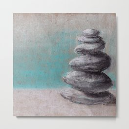 Stack of balanced stones on the beach drawing by pastel Metal Print
