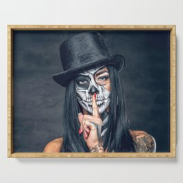 Dia De Los Muertos Day of the Dead Sugar Skull Model Makeup Ultra HD Serving Tray