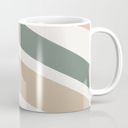 Colorful Stripes, Green, Blush Pink, Beige, Geometric Art Coffee Mug