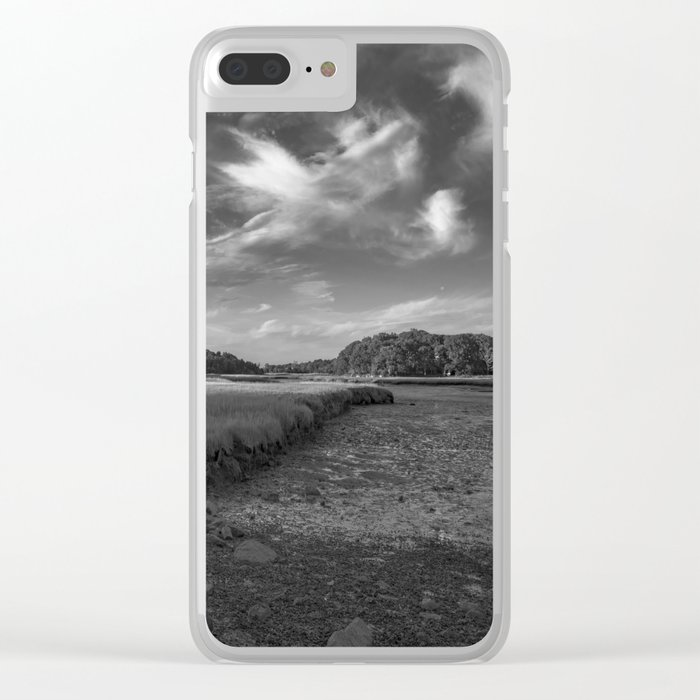 Sky and Marsh Black and white Clear iPhone Case
