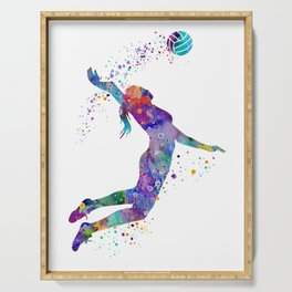 Volleyball Girl Colorful Blue Purple Watercolor Artwork Serving Tray