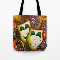 theatre Tote Bags featuring Masks (Theatre) by Alexa Brooke Rutledge
