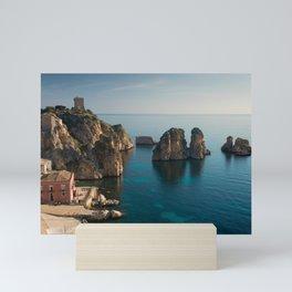 Tonnara and faraglioni rocks in Scopello, Sicily Mini Art Print