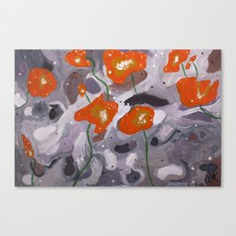 Poppies On Indian Rock Canvas Print