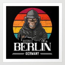 Berlin Retro Monkey Berliner Art Print