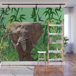 elephant between bamboo leaves Wall Mural
