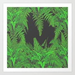 DECORATIVE CHARCOAL GREY GREEN FERNS GARDEN ART Art Print