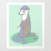 ferret Art Prints featuring Knitting Ferret by Noreen Torelli