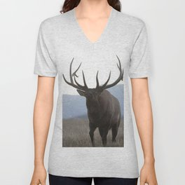 Watercolor Elk Bull 48, Estes Park, Colorado, Rage Unisex V-Neck