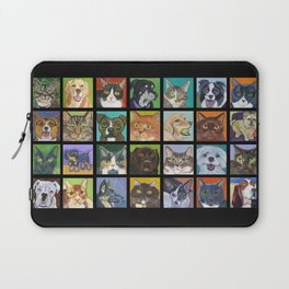 Cats and Dogs in Black Laptop Sleeve