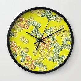 Watercolor Citrus Wheels Wall Clock