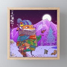 Fox Winter Scene Framed Mini Art Print