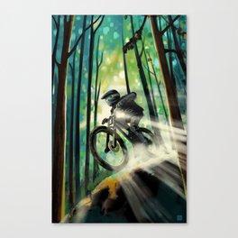 Forest jump mountain biker Canvas Print