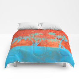 Tropical sunset with blue palm trees Comforters