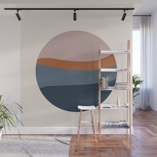 Abstract Geo 5 sunset in terracotta, blush, blue by riveroakstudio