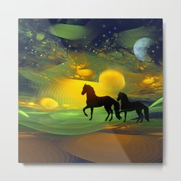 Awakening, Mysterious mixed media art with horses Metal Print