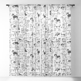 Black and White Dog Drawings | Cute Canines Pattern Sheer Curtain