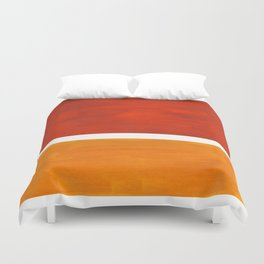 Burnt Orange Yellow Ochre Mid Century Modern Abstract Minimalist Rothko Color Field Squares Duvet Cover