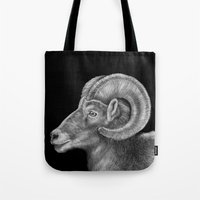 ram Tote Bags featuring Ram by Tim Jeffs Art