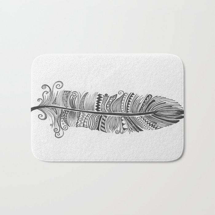 Black and White Feather Zen Bath Mat