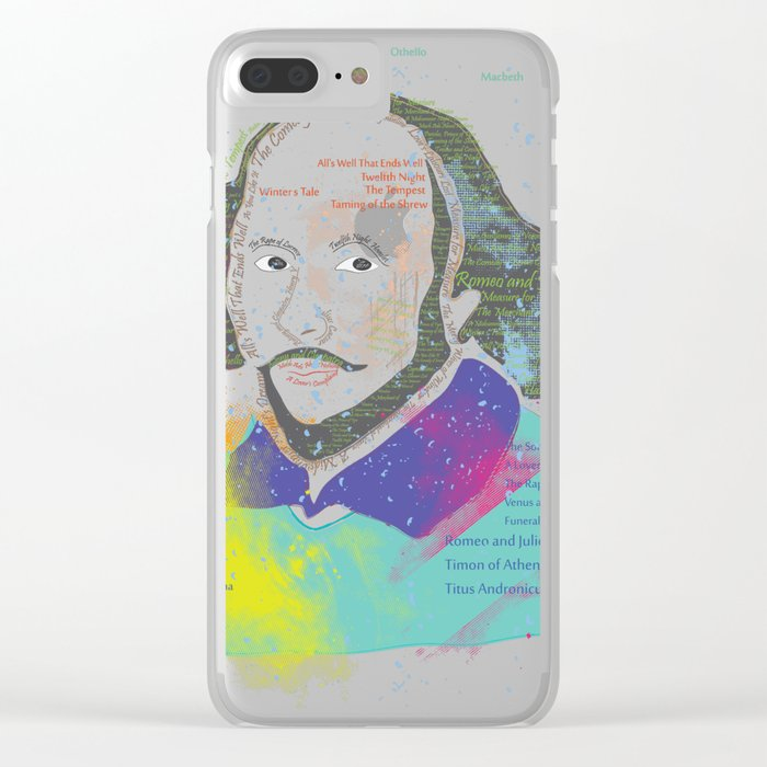 Portrait of William Shakespeare-Hand drawn Clear iPhone Case
