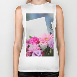 Flowers and a White Sheet of Paper Biker Tank