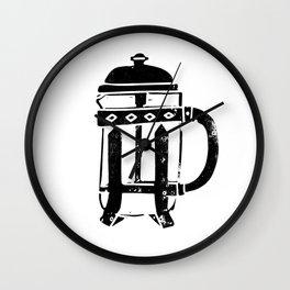 French Press Linocut black and white minimal coffee food printmaking Wall Clock