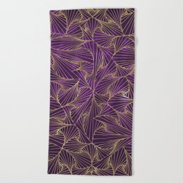 Tangles Violet and Gold Beach Towel