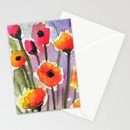 Colorful Orange Poppies - Watercolor Stationery Cards