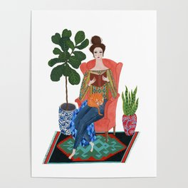 Cat lady reading Poster